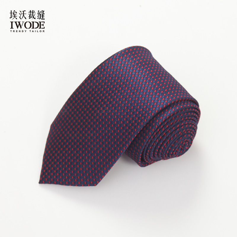 Iwode/evo summer new thin red dot tie men's formal wear business casual blue dog