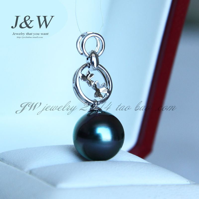 J & w (jewelry) natural tahitian black pearl pendant 12mm k white gold ring inlaid cloverlike