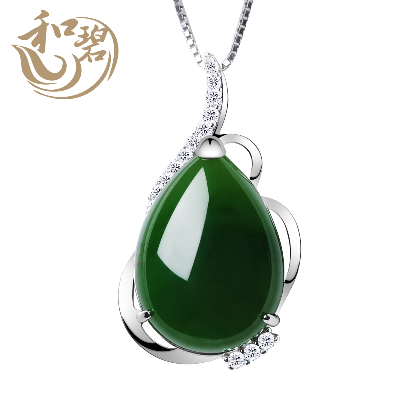 Jade jewelry and jade gourd water droplets natural and tianbi yu jasper pendant pendant jade pendant necklace female models