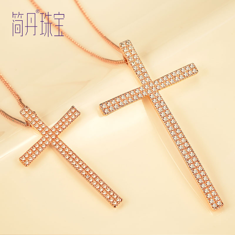 Jane dan crystal necklace sweater long section of female korean korean jewelry retro fashion x word temperament sweater chain