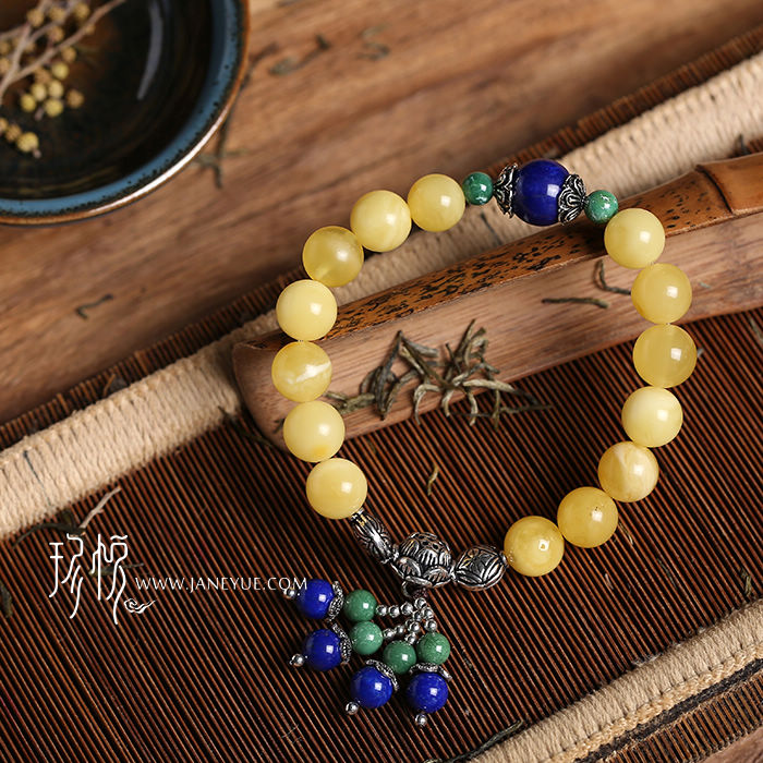 Jane wyatt jewelry quality honey 9mm beeswax beads bracelet/jewelry bracelets with natural amber beeswax original stone