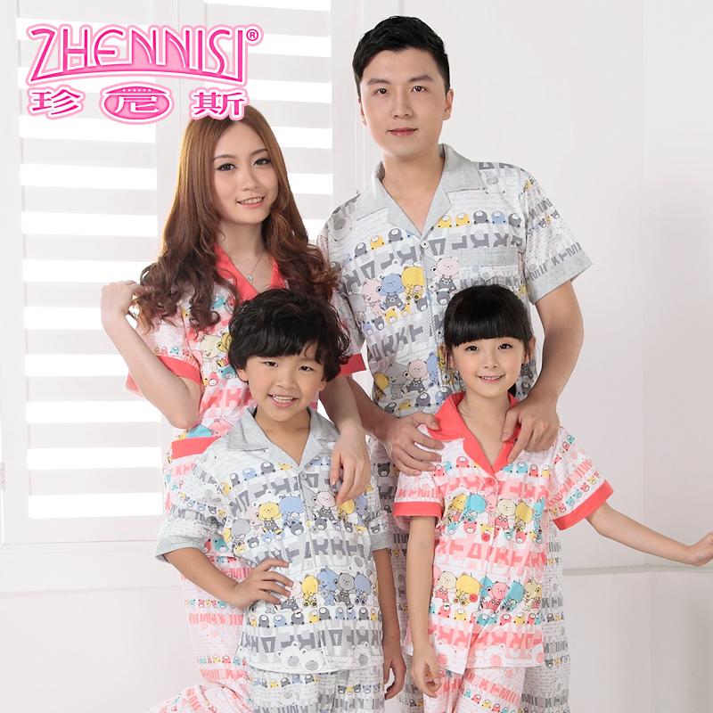 Janice paternity pajamas family pack family fitted summer children's pajamas kids pajamas suit boys and girls underwear