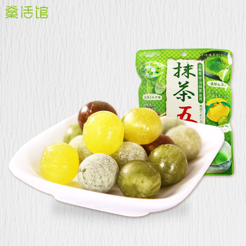 Japan imported fan bird yee assorted fruit flavored hard candy candy fruit flavor of green tea combination of water fructose 75g