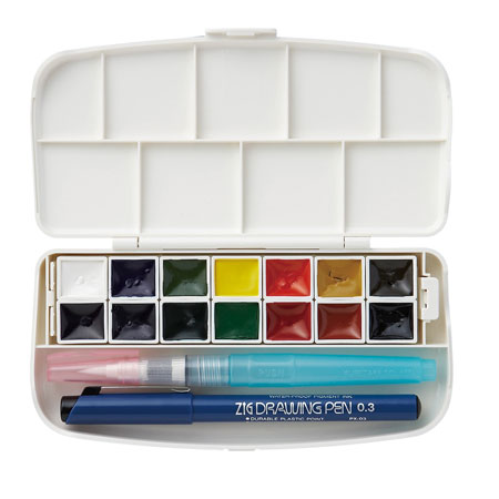 Japan kuretake/wu bamboo KG301-1 solid transparent watercolor watercolor 14 color suit jane sleeve type