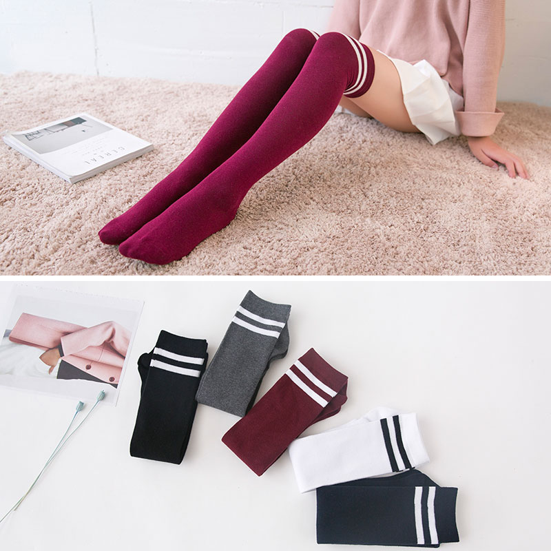 4300416e7 Get Quotations · Japanese autumn and winter lengthen thick two bars college  wind female knee socks stockings legs socks