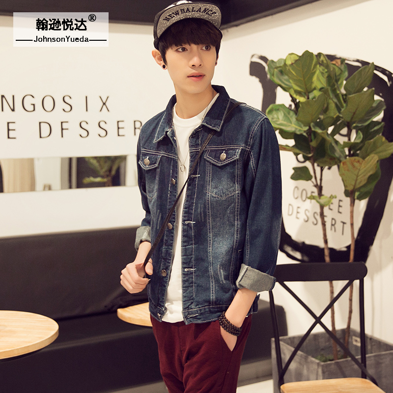 Japanese spring loaded hong kong street style denim jacket denim jacket male tide korean slim england men's