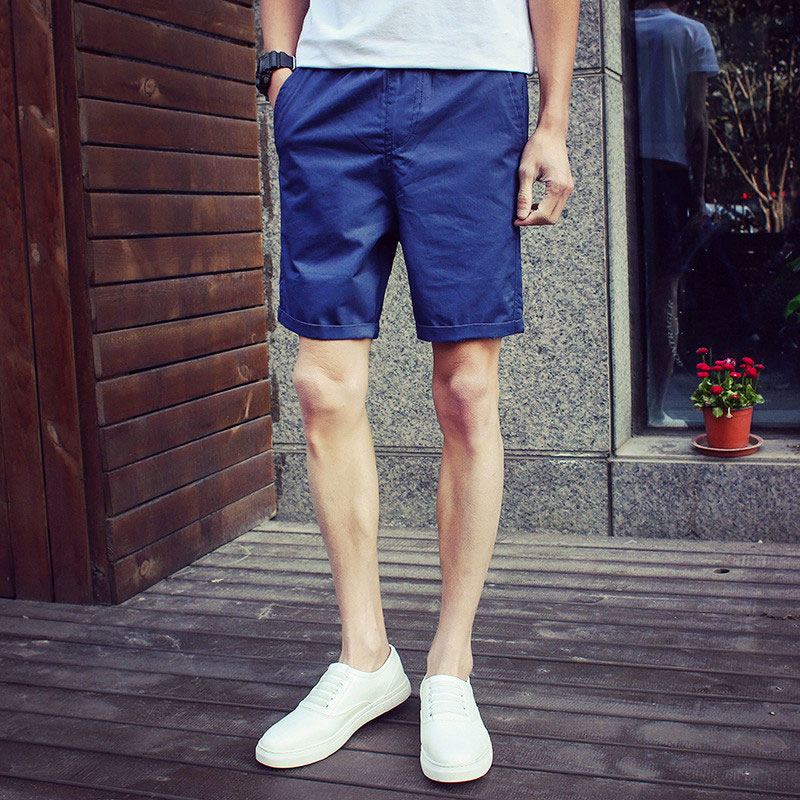 Japanese summer pure black and white blue men's casual shorts beach pants five pants pants korean version of fertilizer to increase code