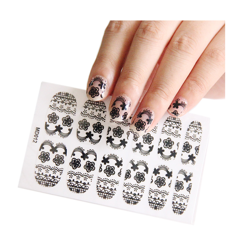 Japanese thin nail stickers all posted hollow black lace decoration new nail stickers nail supplies 12 small stickers