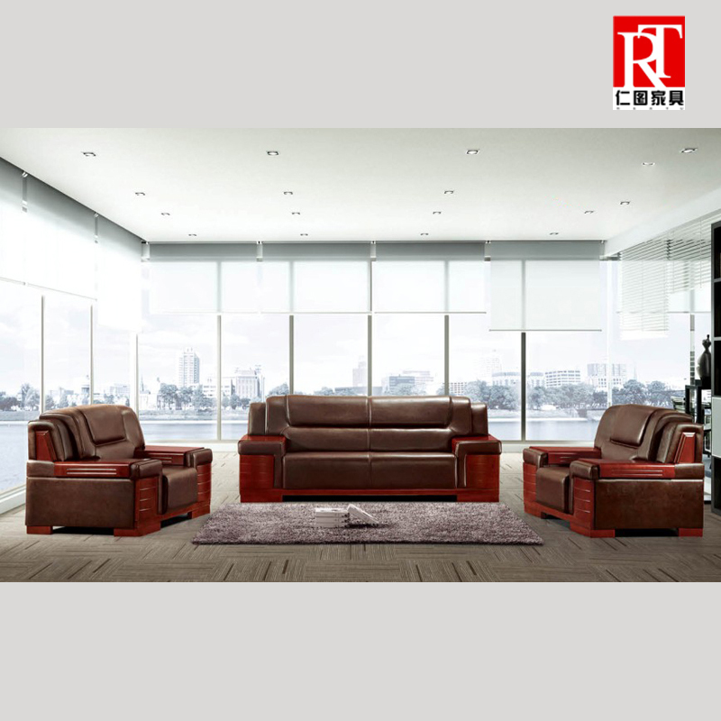 Jen figure furniture office sofa business reception parlor three bits leather sofa leather office sofa single digit