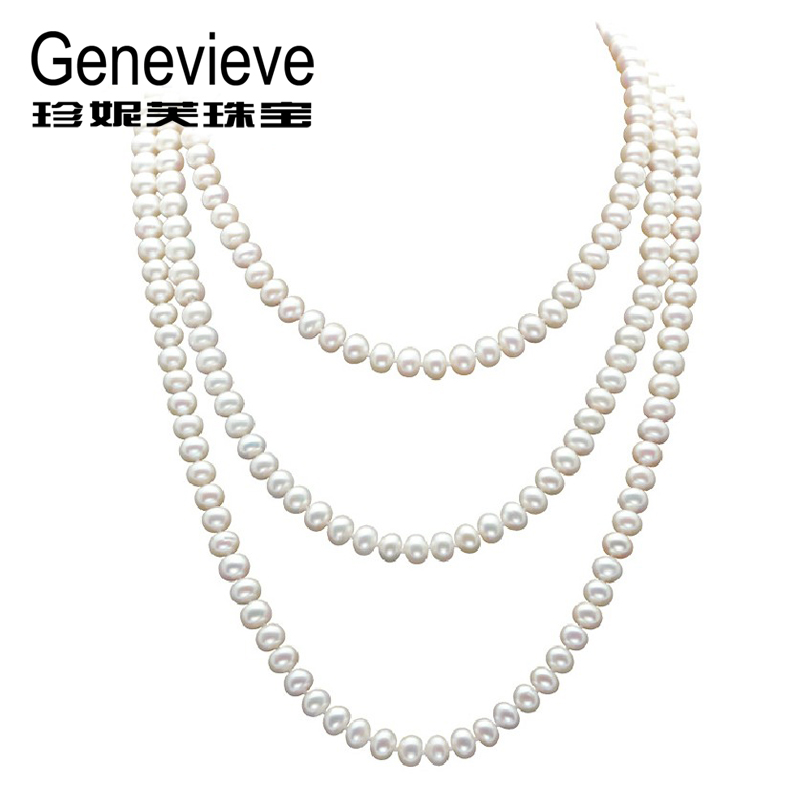Jennifer ofthe proudly genuine pearl pearl sweater chain long necklace long section of multilayer female wedding jewelry