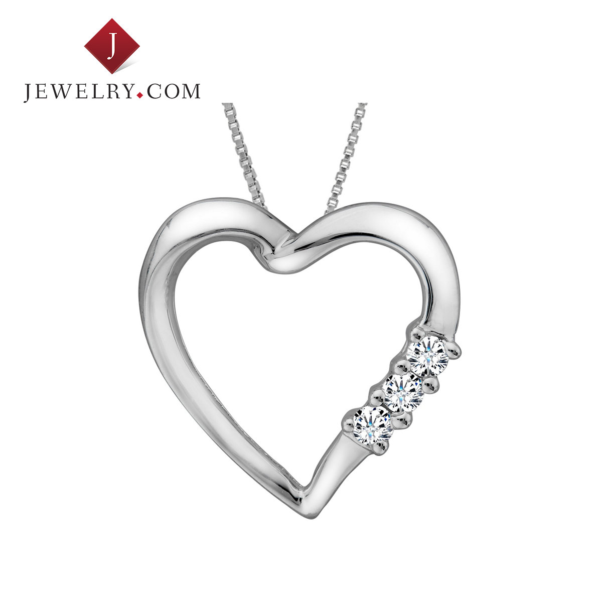 Jewelry.com official 0.1 karat k white gold diamond heart pendant simple fashion jewelry female models