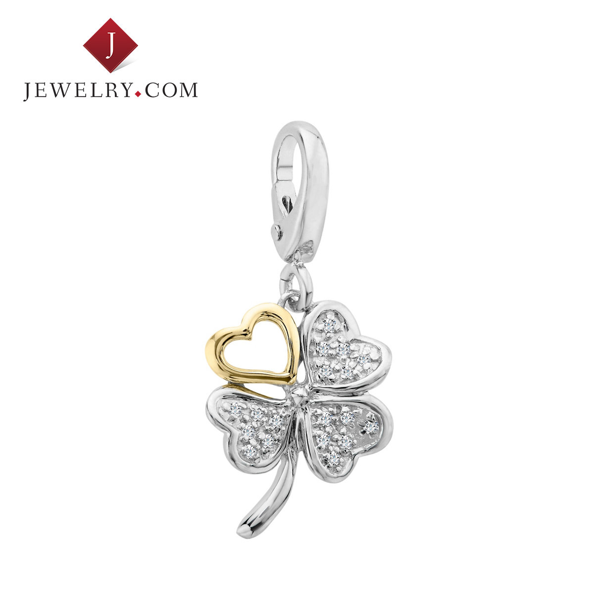 Jewelry.com official 925 silver 0.1 karat k gold inlay diamond exquisite creative clover charm