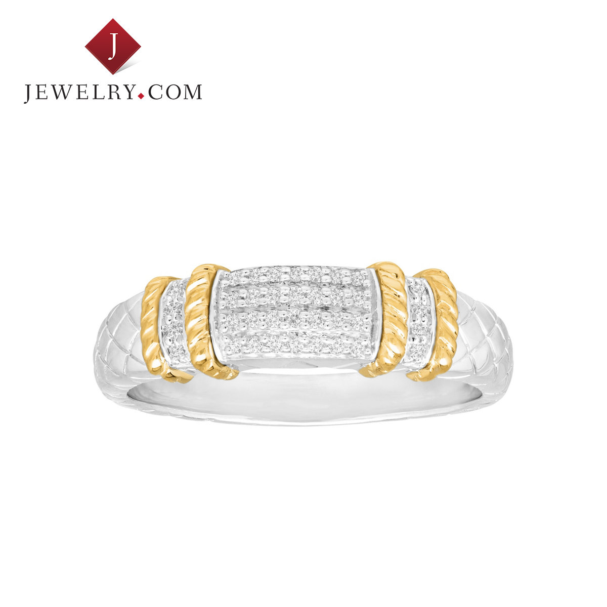 Jewelry.com official 925 silver 0.1 karat k gold inlay diamond ring european and american fashion jewelry nvjie