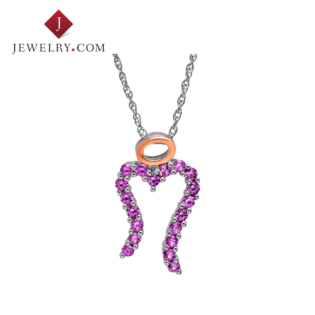 Jewelry.com official k rose gold plated sterling silver 875ct mm pink sapphire miracle charm pendant symbolizes