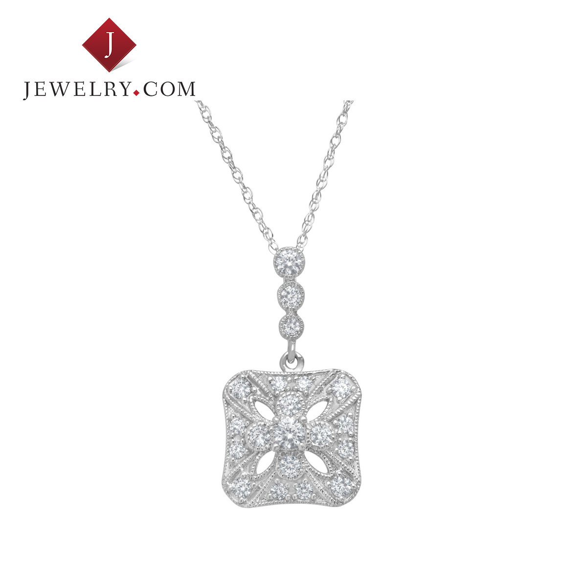 Jewelry.com official ms. classic 0.5 karat k white gold diamond pendant stylish and elegant charm jewelry
