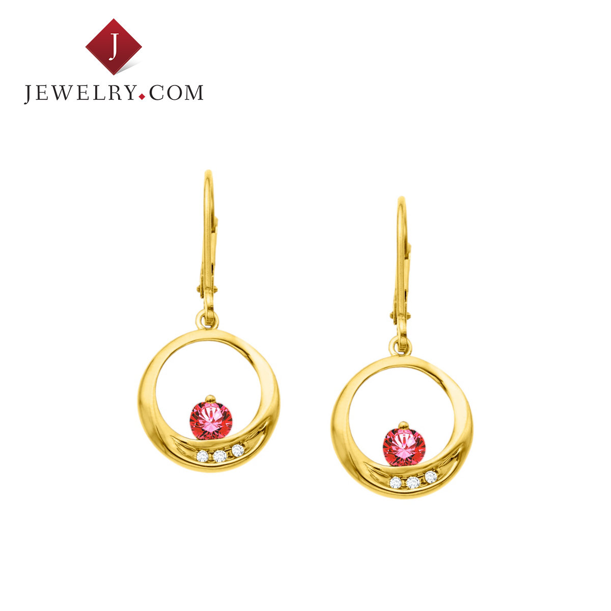 Jewelry.com official ms. elegant fashion 0.375 karat k gold diamond ruby earrings
