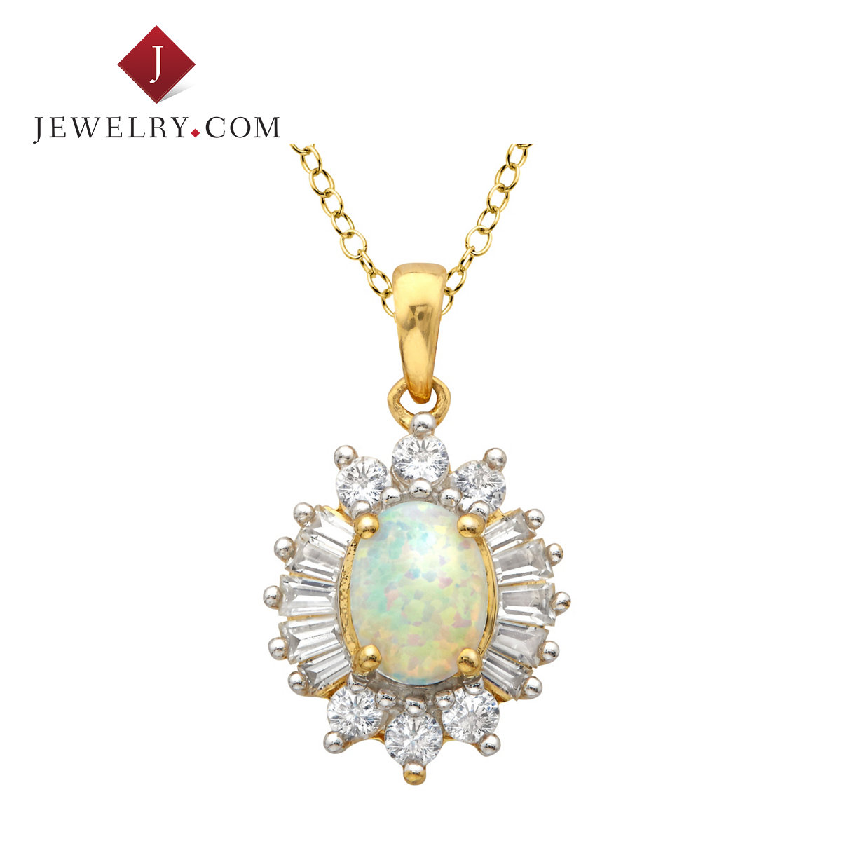 Jewelry.com official silver 925 k gold plated elegant charm exquisite opal white sapphire pendant female models
