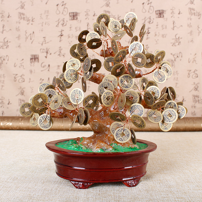 Jia thick mining five emperors coins lucky tree crystal small household ornaments decorations living room tv cabinet ornaments crafts
