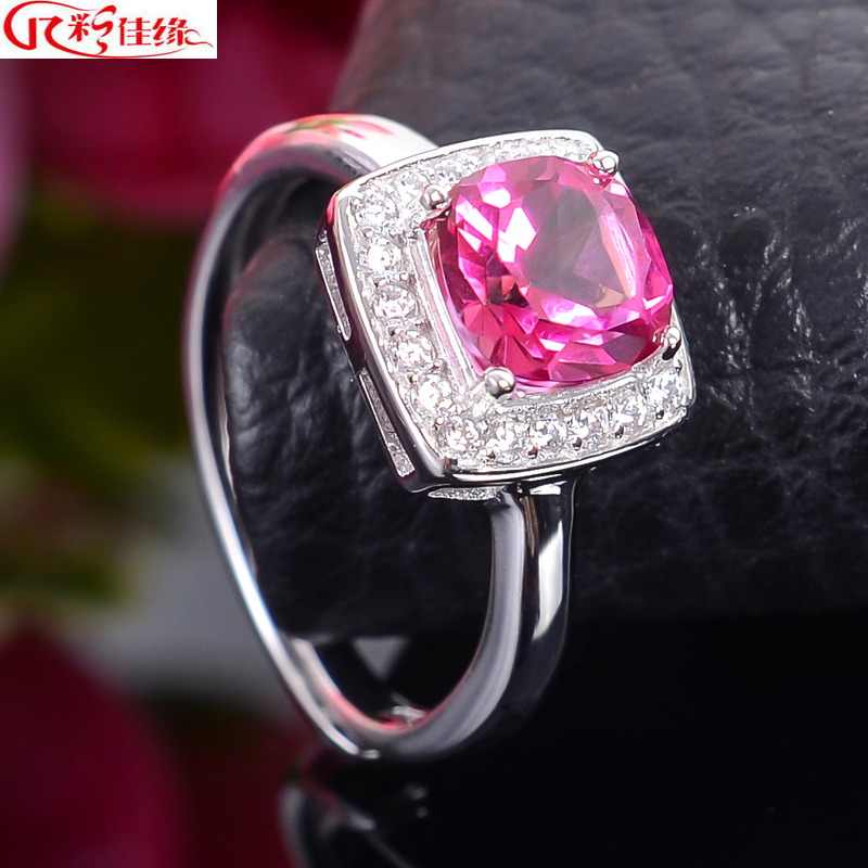 Jiayuan 925-color certificate multicolored natural pink topaz ring nvjie 925 k gold plated silver ring live on
