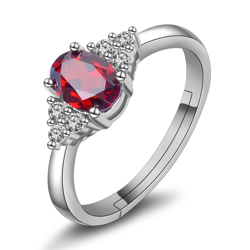 Jiayuan 925-color with a certificate of natural garnet ring 925 silver rhodium rose gold plated multicolored nvjie