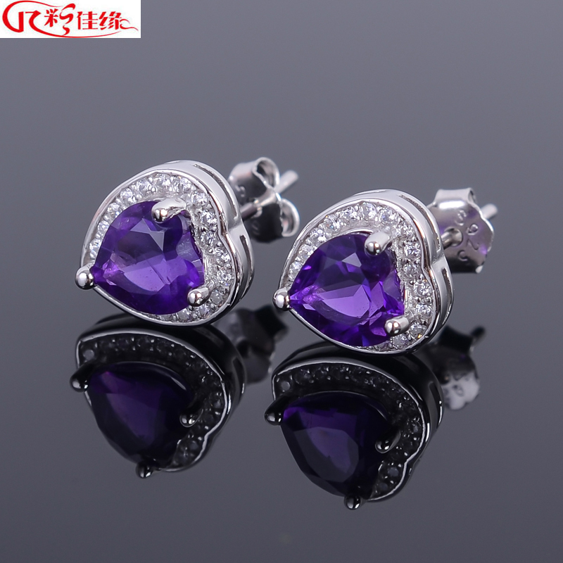 Jiayuan 925-color with a certificate with a certificate of natural amethyst earrings 925 silver earrings couple of men and women section heart