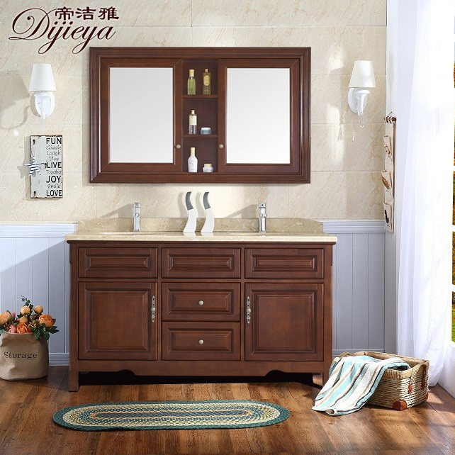 Jie ya di modern chinese double combination of solid wood bathroom cabinet bathroom cabinets double basin cabinet off the ground ds07