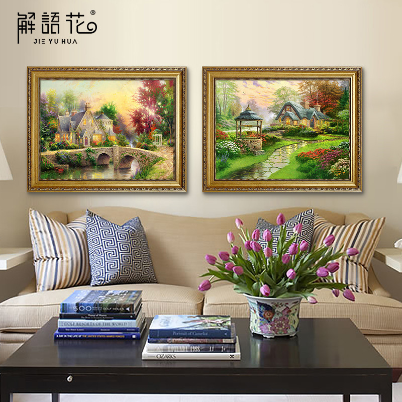 Jie yuhua paintings bedroom sofa backdrop of european painting decorative painting pastoral landscapes painting restaurant entrance hallway mural paintings