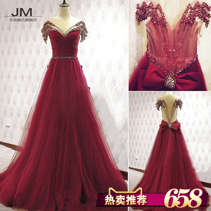 Jigme married art wedding dress female 2016 spring and summer new dress 7803 red bride wedding toast clothing was thin dress