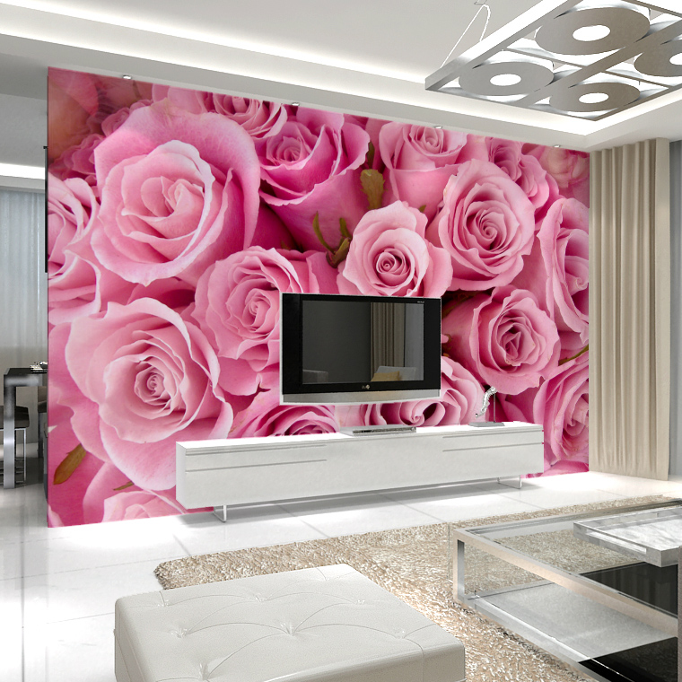 Jimei large seamless wallpaper nonwoven wallpaper bedroom living room wallpaper backdrop pink roses wallpaper cloth