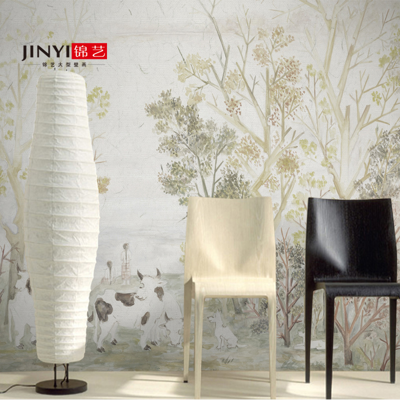 Jin yi wovens living room tv backdrop large mural wallpaper wallpaper retro nostalgia american country pastoral