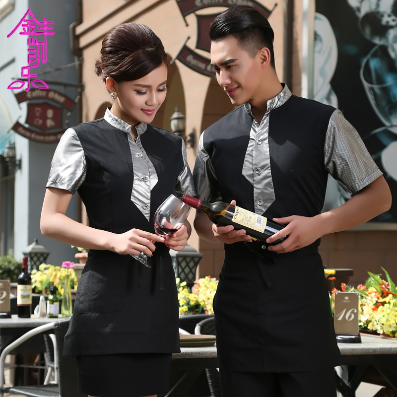 Jinfeng kai lok female restaurant waiter overalls summer short sleeve fast cafeteria dining tooling uniform work clothes