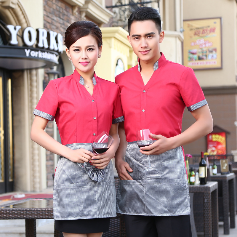 Jinfeng kai yue hotel overalls summer hotel restaurant waiter restaurant waiter overalls overalls work clothes short sleeve sleeve