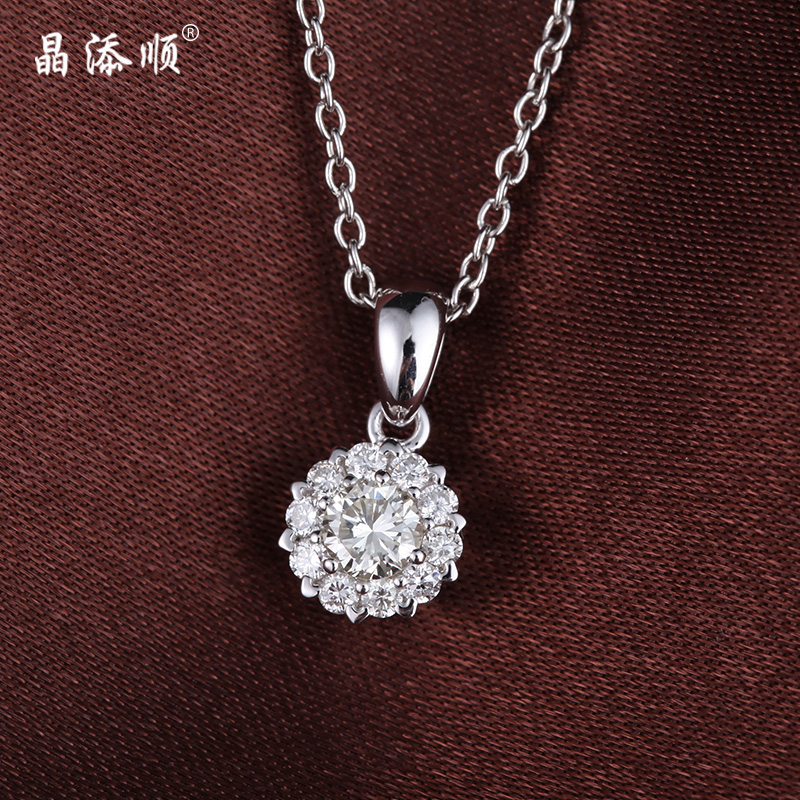 Jing tian shun white k gold inlaid carat diamond pendant clavicle pendant k gold diamond pendant genuine female custom