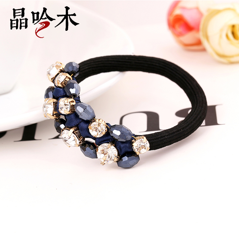 Jing yin wood fabric decorated with south korea imported crystal beaded hair ring hair rope korean tousheng headdress flower head tie when shang