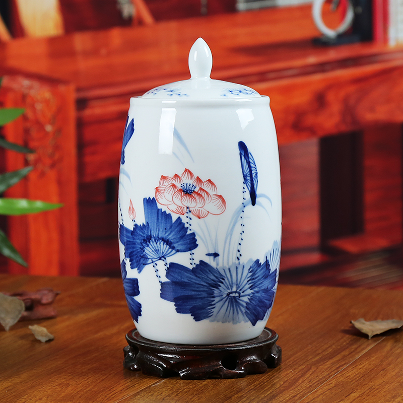 Jingdezhen blue and white ceramic canisters canister modern minimalist living room home decoration crafts ornaments