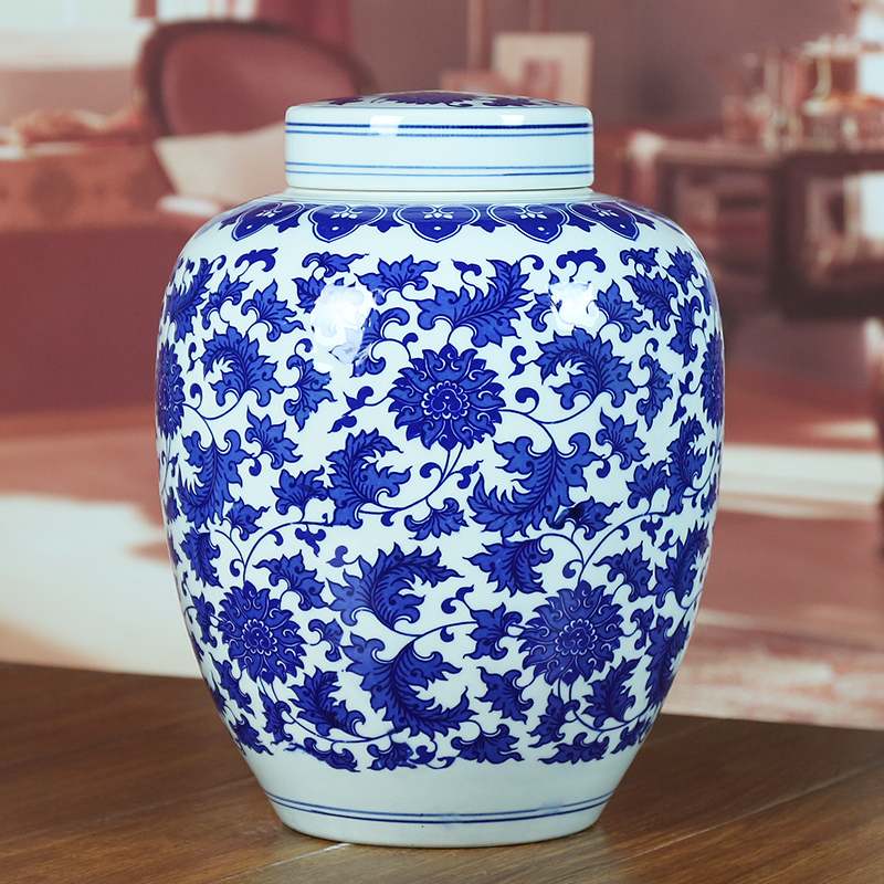 Jingdezhen blue and white ceramic sealed cans of chinese living room kitchen candy jar home decoration canister jar