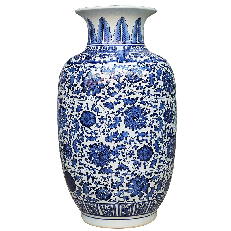 Jingdezhen ceramic blue and white porcelain lotus scroll decoration home accessories floor vase large living room hotel company