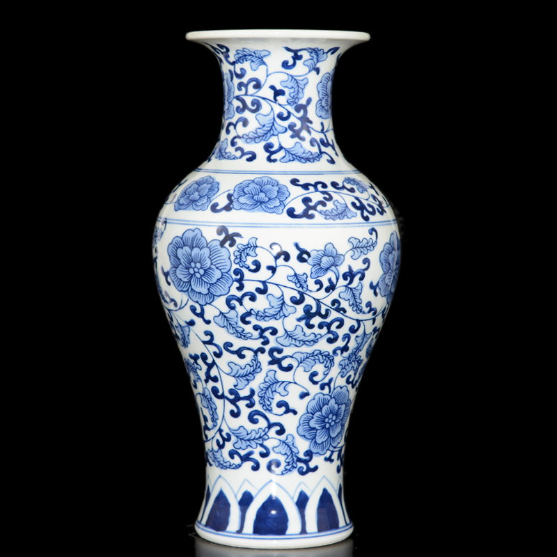Jingdezhen ceramic blue and white porcelain vase crafts antique living room painted underglaze small ornaments crafts shelf