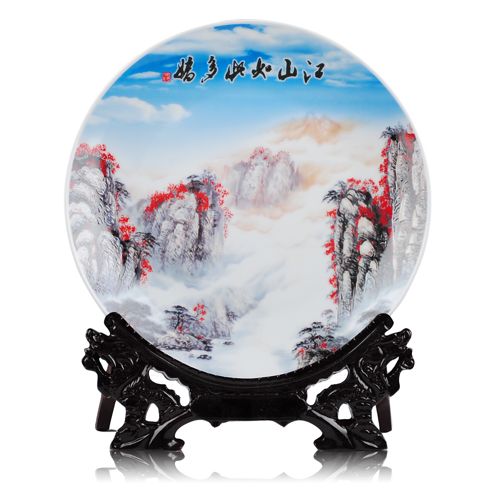 Jingdezhen ceramic decorative plate hanging plate modern land so chinese classical living room ornaments