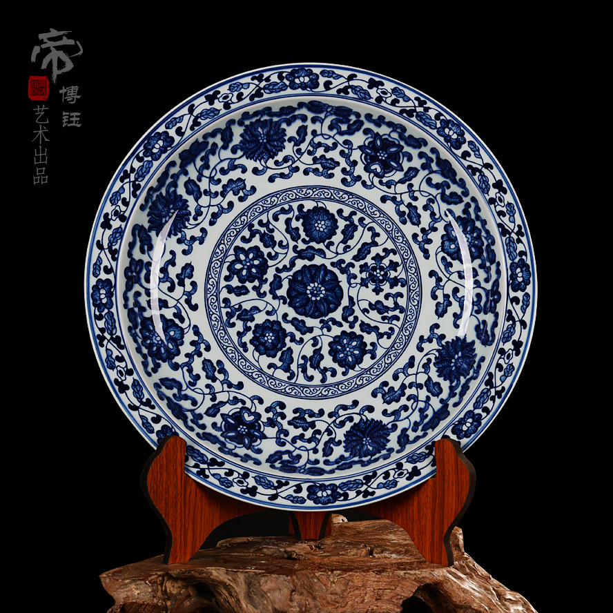 Jingdezhen ceramic decorative plate hanging plate sit plate special painted antique blue and white lotus scroll porcelain craft ornaments