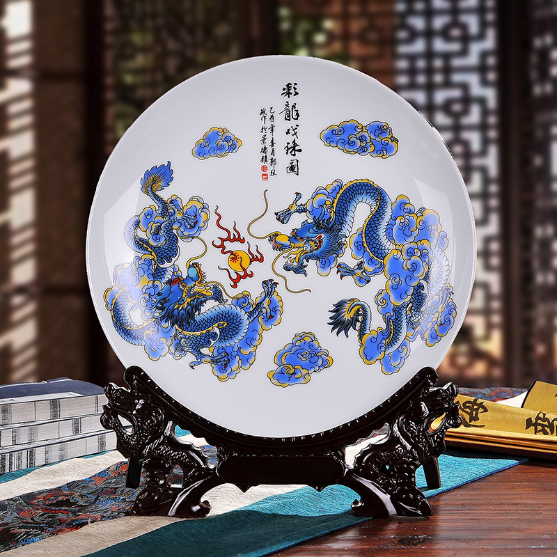 Jingdezhen ceramic decorative plate ornaments modern creative home decorations living room furnishings crafts gifts