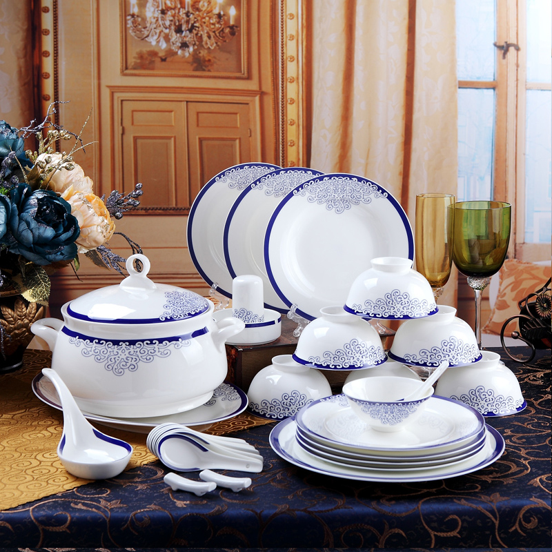 Jingdezhen ceramic dishes suit 56 bone china tableware set of chinese dishes household utensils