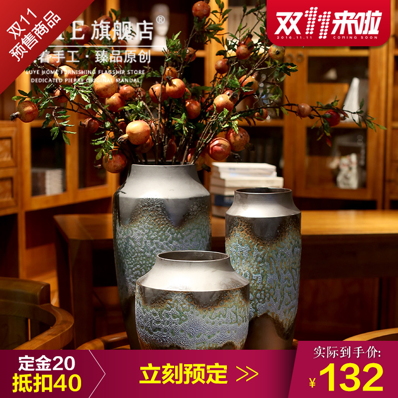 Jingdezhen ceramic floor hotel chinese retro ornaments home decoration pottery vase flower arrangement is black porcelain