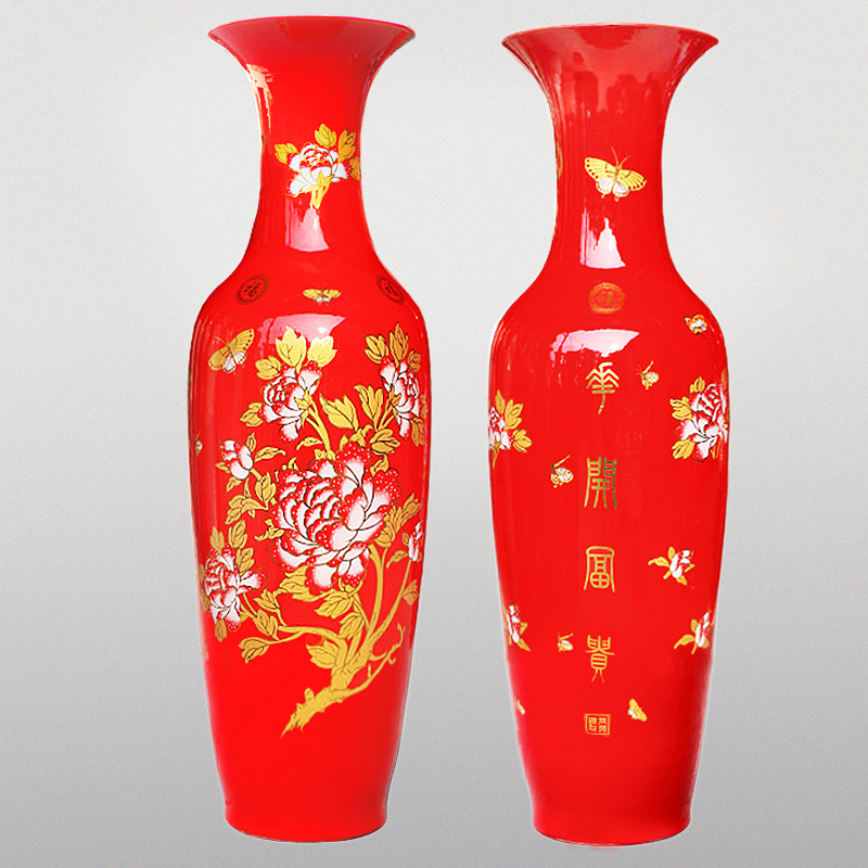 Jingdezhen ceramic floor large vase chinese red gilt red ornaments hotel living room peony blossoming