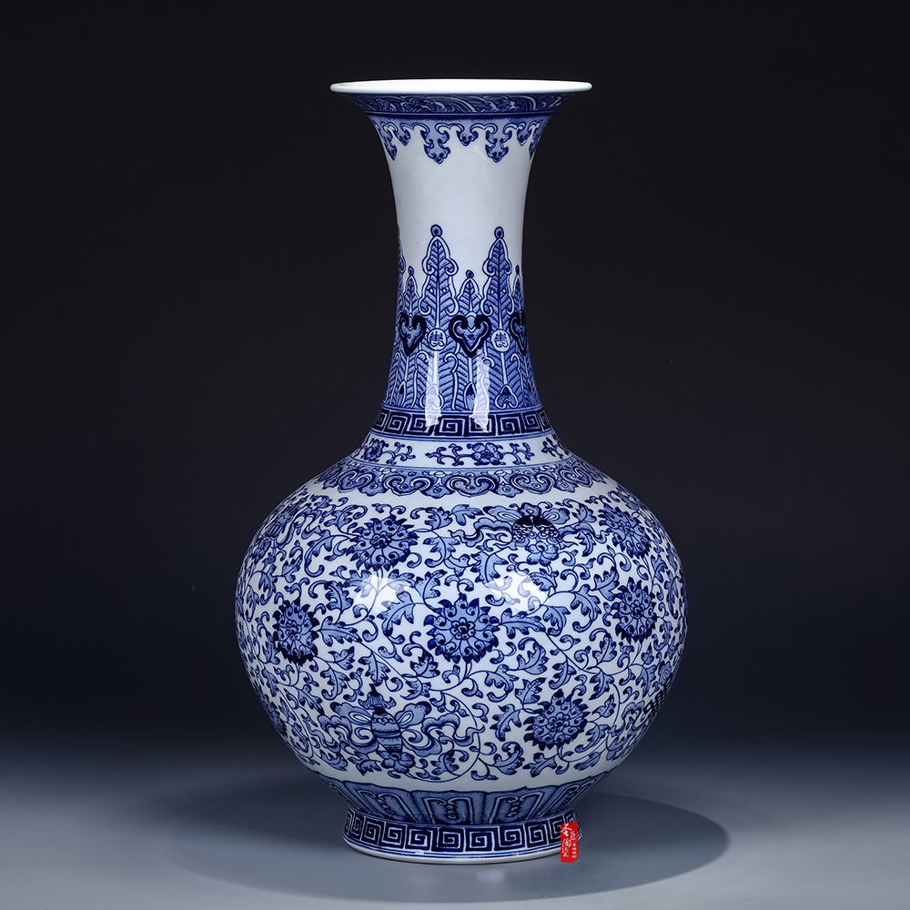 Jingdezhen ceramic imitation of the qing qianlong vase chinese antique blue and white porcelain vase flower holder ornaments countertops