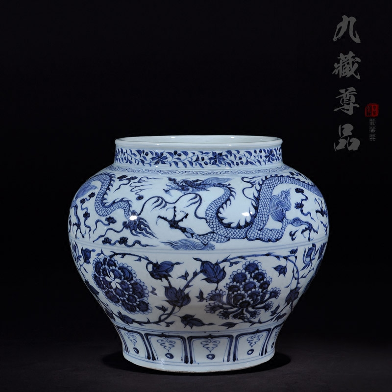 Jingdezhen ceramic imitation of the yuan blue and white jar soaring lotus living room minimalist fashion ornaments craft jewelry