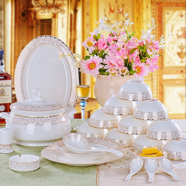 Jingdezhen ceramics 56 bone china tableware suit continental dishes package wedding celebration special offer free shipping