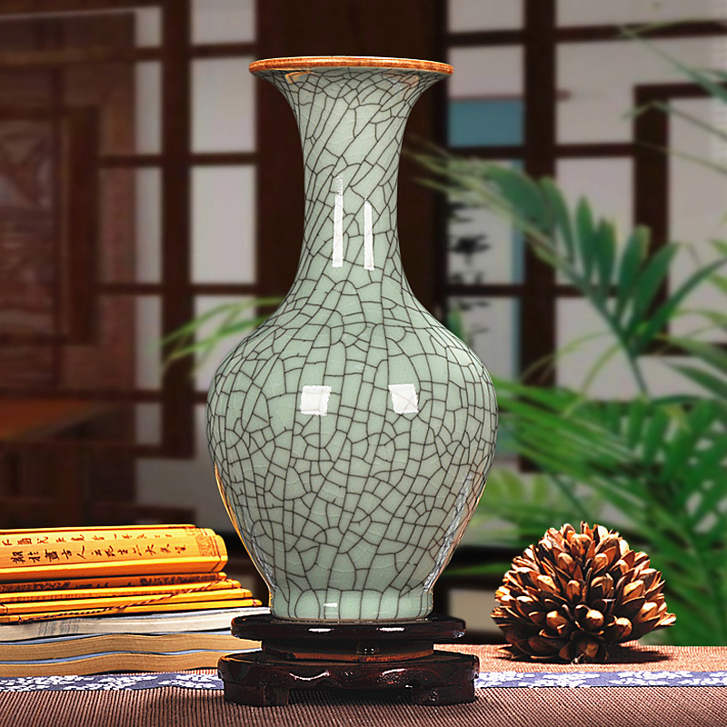 Jingdezhen ceramics antique crackle andlyzing vase modern chinese classical decoration crafts ornaments living room