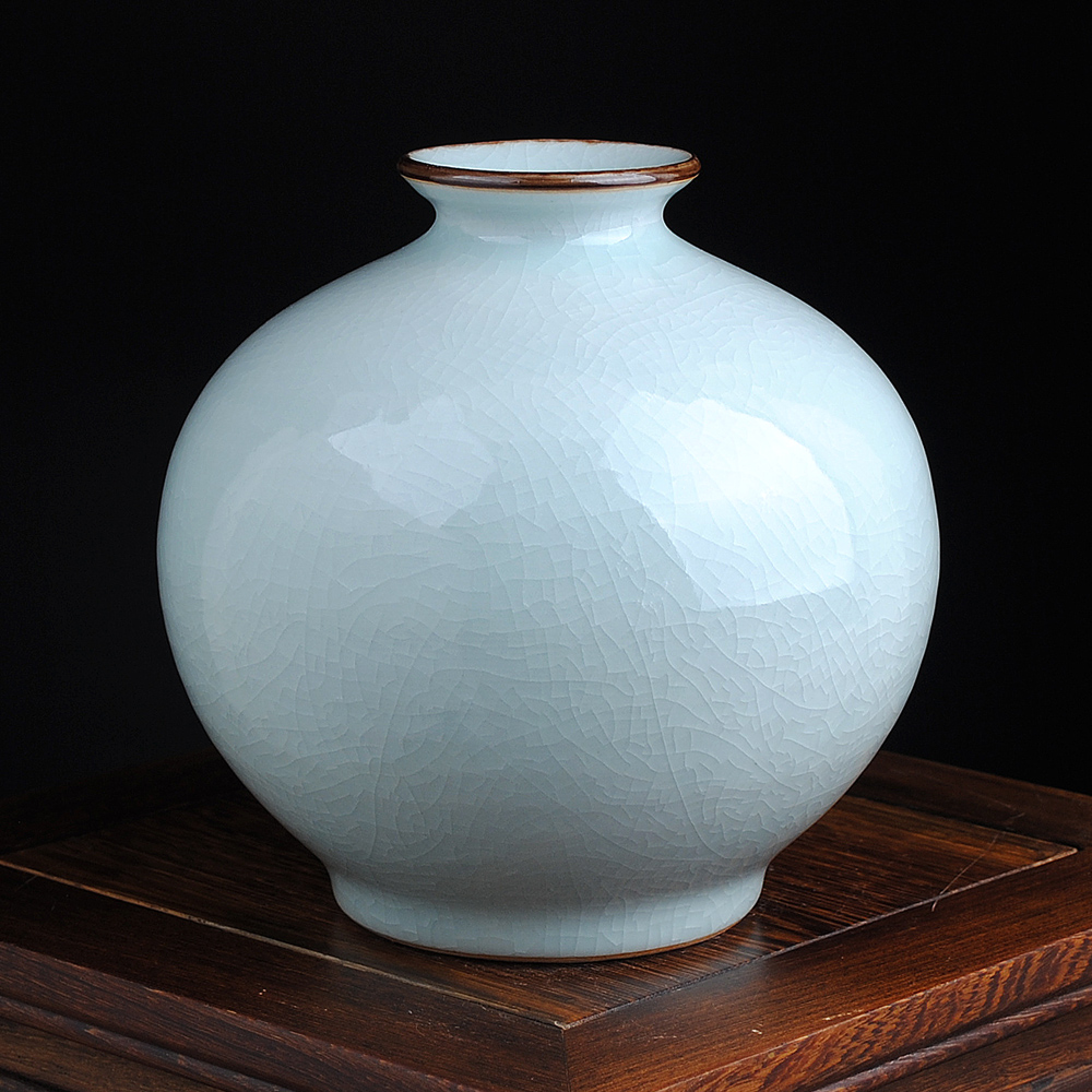 Jingdezhen ceramics antique crackle glaze kiln opening piece pomegranate vase modern home decoration living room placed pieces