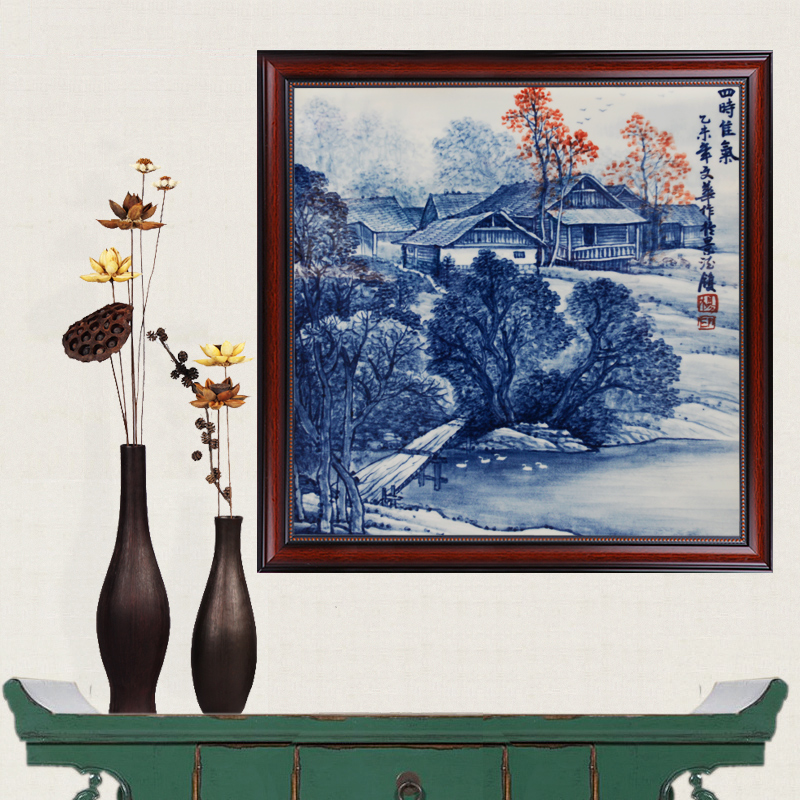 Jingdezhen ceramics famous masterpieces painted blue and white jia gas vitrolite seasons mural fresco living room crafts